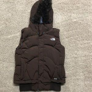 North face faux fur trimmed vest